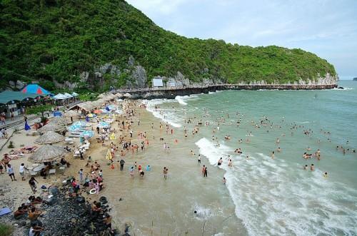 Du khách tập trung đông đúc tại bãi Cát Cò mỗi khi hè về