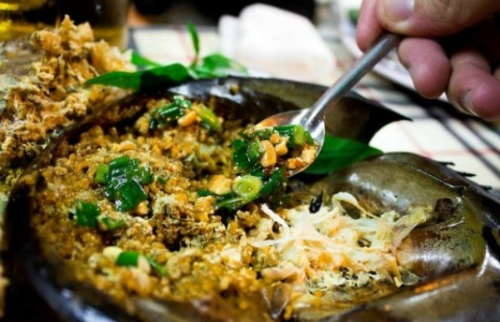 Thưởng thức món sam biển nướng Cát Bà